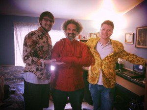 Brian E, bassist Ed Pratico, and Jesse Elliot posing in their new threads!